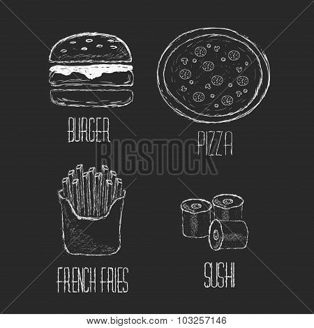 Vector Hand drawn collection of fast food, junk food. Set Sushi, pizza, burger and french fries hand