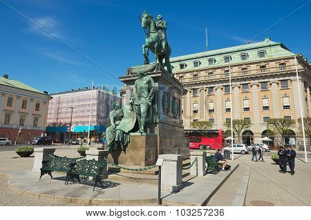 Exterior of the equestrian statue of Gustavus Adolphus at Gustav Adolfs torg in Stockholm, Sweden.