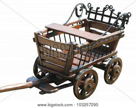 Vintage Wagon Wooden Cart Isolated On White
