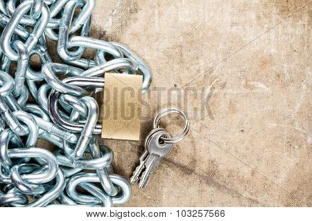 Padlock And  Metal Chain With Copy-space