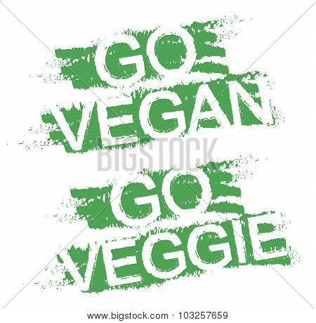 Go vegan. Go veggie. Green graffiti signs