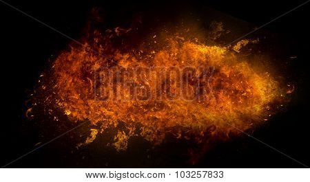 Fire Flame Explosion On Black Background