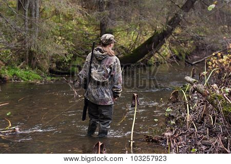 Woman Hunter Crossing The River