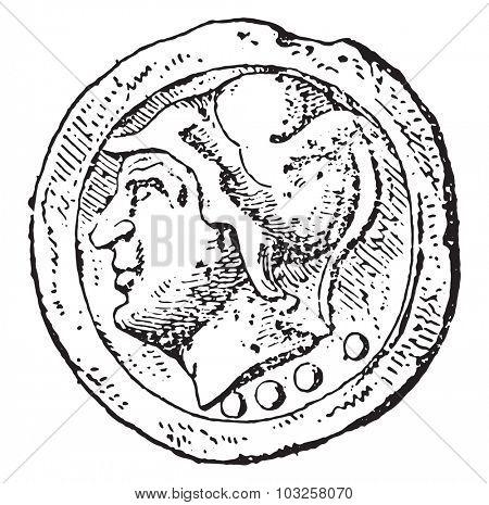 Minerve, vintage engraved illustration.