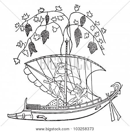 Tyrrhenian vessel, vintage engraved illustration.