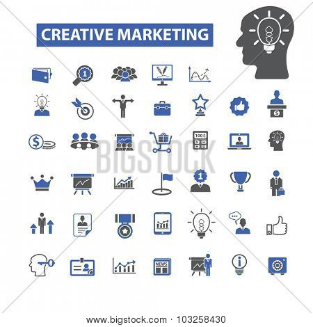 creative marketing, idea icons
