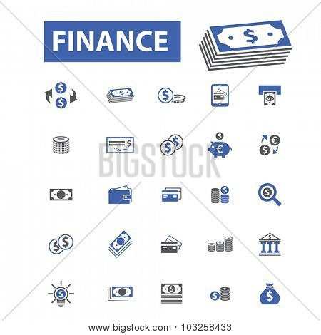 finance, investment, bank icons