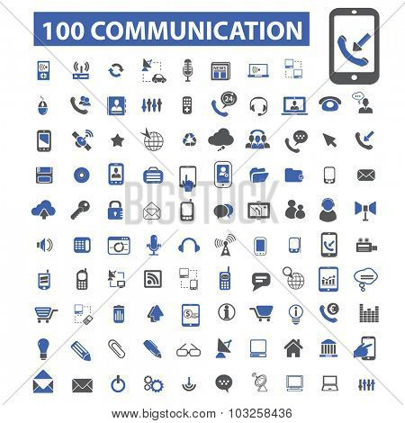 100 communication, connection, phone icons