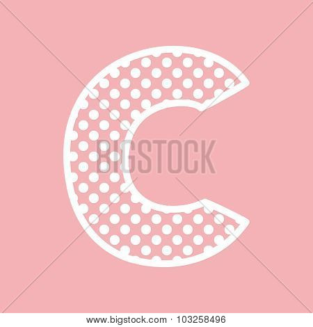 C vector alphabet letter with white polka dots on pink background