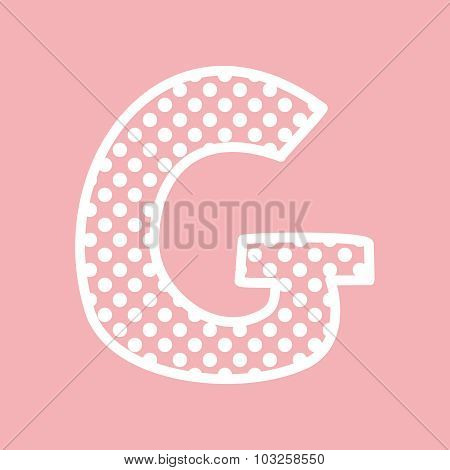 G vector alphabet letter with white polka dots on pink background