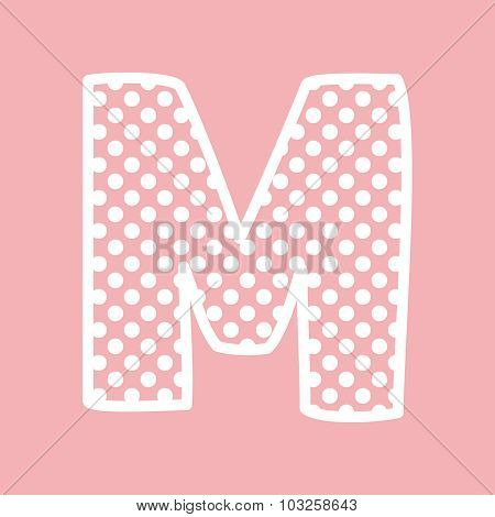 M vector alphabet letter with white polka dots on pink background