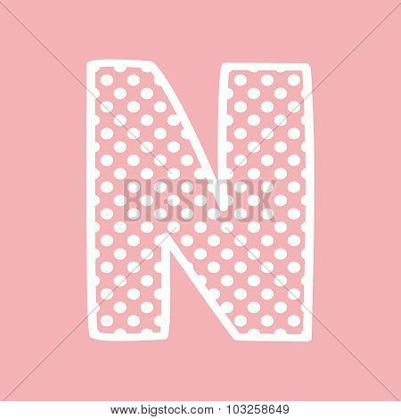 N vector alphabet letter with white polka dots on pink background