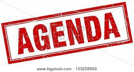 Agenda Red Square Grunge Stamp On White