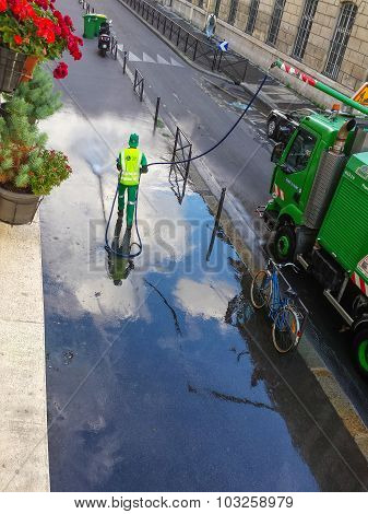 Street washer in Paris