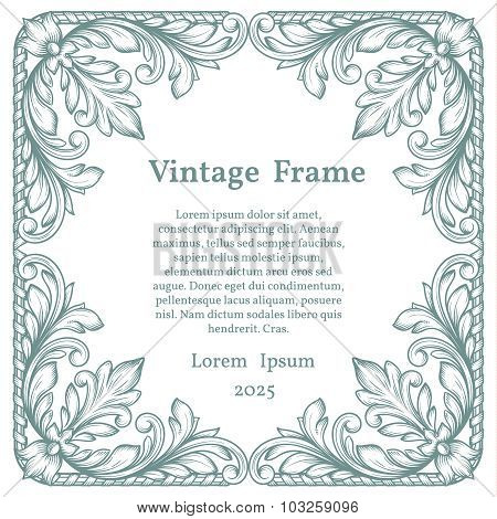 Vintage square ornate frame