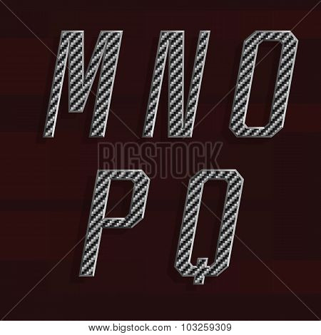 Carbon fiber Alphabet Vector Font. Part 3 of 6. Letters M - Q.