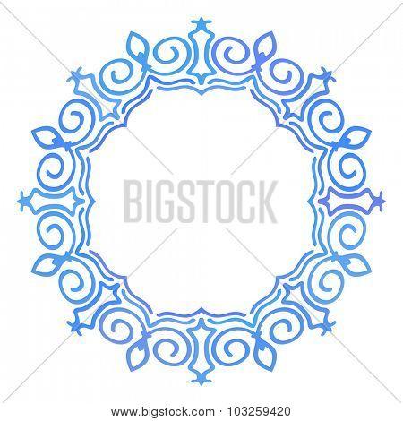 Round frame, Ornamental design element, Blue multicolor