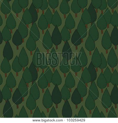 Summer tree seamless vector pattern