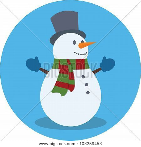 Snowman. Christmas Concept. Flat Design.