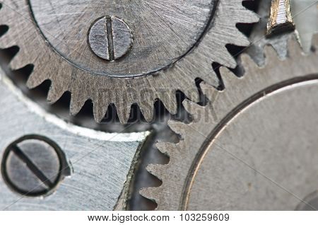 Metal Cogwheels In Clockwork, Macro.