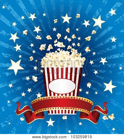 vector illustration of the popcorn and stars explosion on blue grunge burst with red blank cinema banner