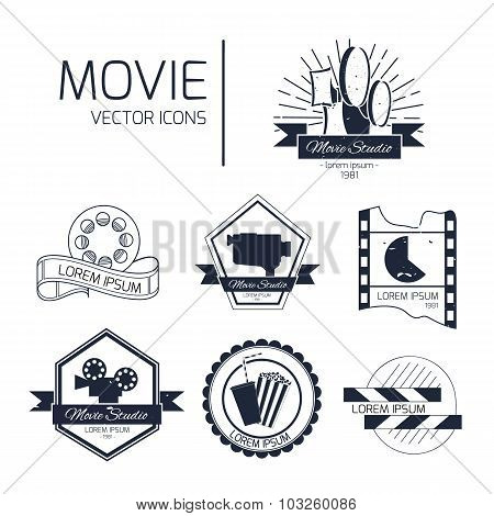 Set Of Vector Cinema Logos