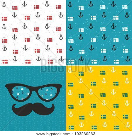 Set of seamless patterns with anchors and national flags of Scandinavian countries.