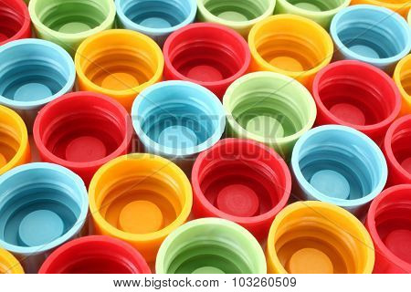 Colorful plastic bottle caps
