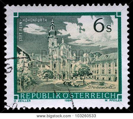 AUSTRIA - CIRCA 1984: a stamp printed in the Austria shows Rein Abbey, Cistercian Monastery, Hohenfurth, Styria, circa 1984