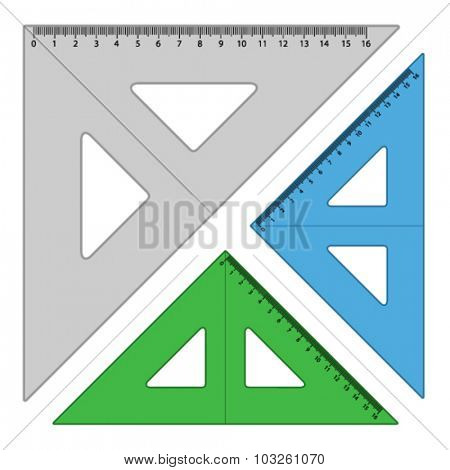 vector plastic triangle rulers