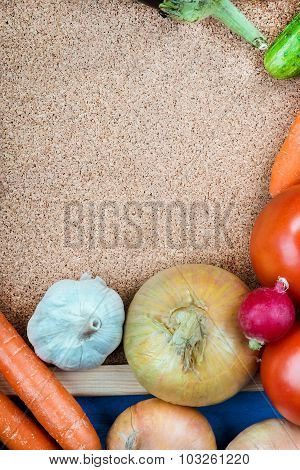 Cork board and fresh vegetables