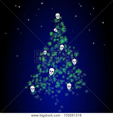 Dark Christmas Tree With Marijuana Leaves And Human Skulls