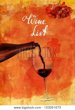Wine List Design: Watercolor Drawing Of Wine Poured Into Glass
