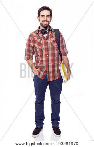 Full lenght portrait of a smiling male student, isolated on white background