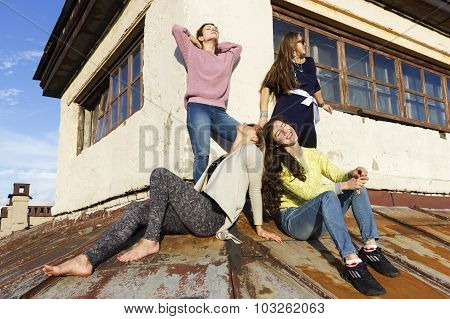 Russian Girls Walking On The Roof