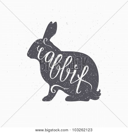 Hipster Style Hare Silhouette. Rabbit Meat Hand Lettering