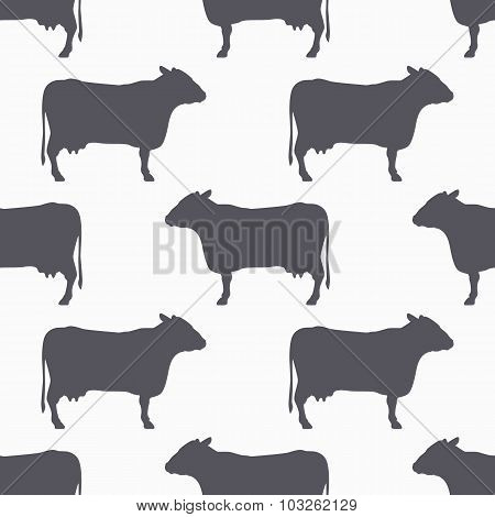 Cow Silhouette Seamless Pattern. Beef Meat Background