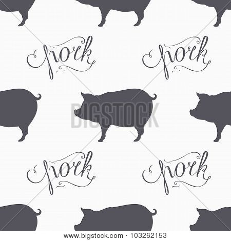 Hipster Style Pig Seamless Pattern. Pork Meat Hand Lettering