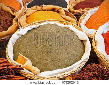 Baskets Of Various Types Of Spices