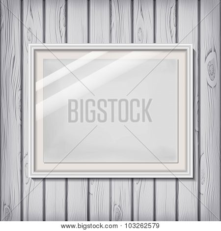 Picture Frame Template With White Border On A Wooden Wall In Vector