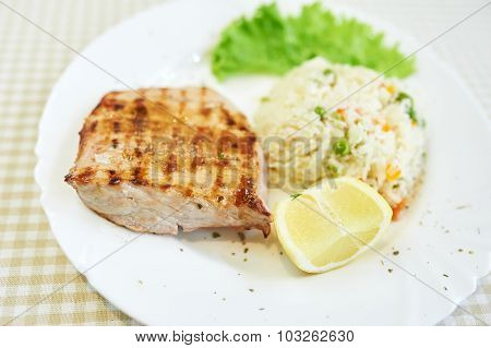 Grilled Pork Chop Dinner with Risotto