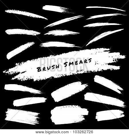 Set of White Hand Drawn Grunge Brush Smears