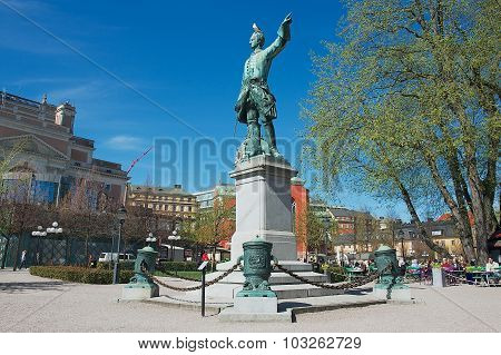 Exterior of the statue of Charles XII (Karl XII) in Stockholm, Sweden.