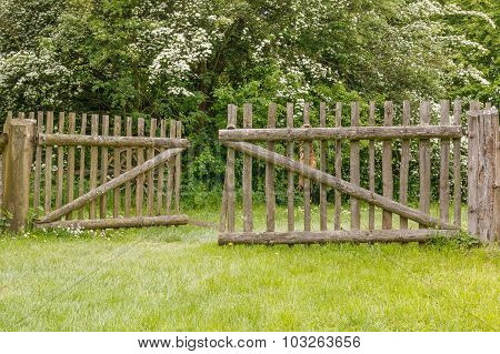 Closeup of old wooden fence