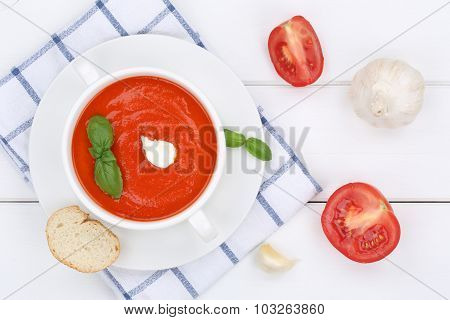 Tomato Soup Meal With Tomatoes In Bowl From Above