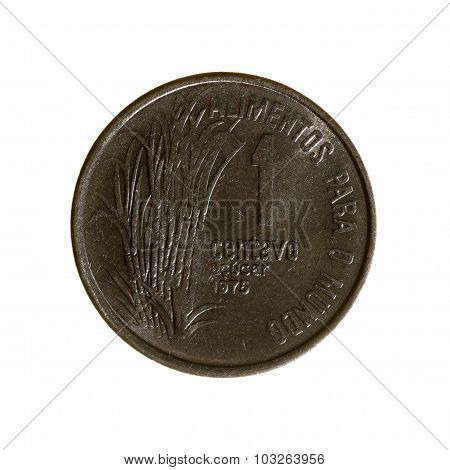 Brazil Is One Centavo Coin Isolated On White Background. View Sverhu.1975 Year.revers