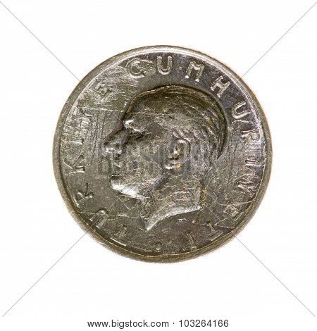 One Lira Coin Turkey Isolated On A White Background. Top View.