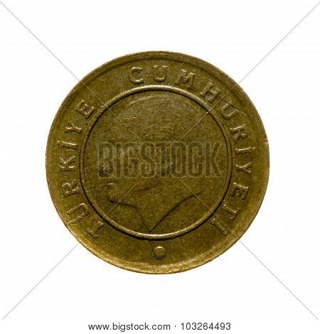 Coin Ten Kurush Turkey Isolated On A White Background. Top View.