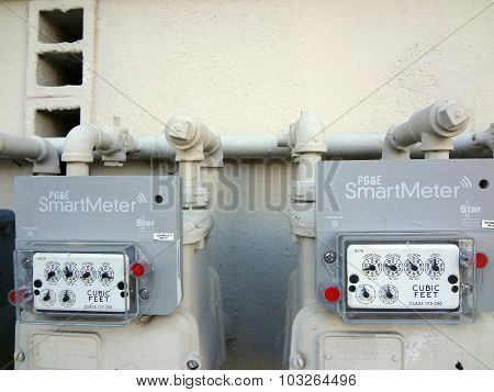 Two Pg&e (utility Co)  Electricity Smartmeters On Residential Building
