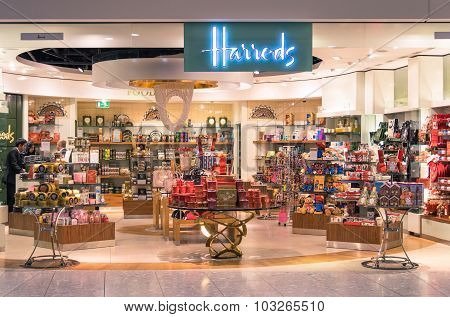 London - November 5, 2014: Harrods Store At London Heathrow International Airport